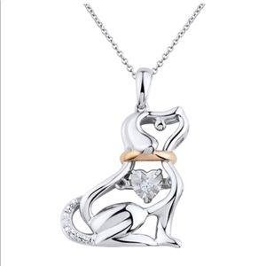 Jewelry - 14K Pink Gold over SS diamond Dog Pendant